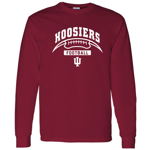 Indiana University Hoosiers Football Crescent Long Sleeve T Shirt - Cardinal