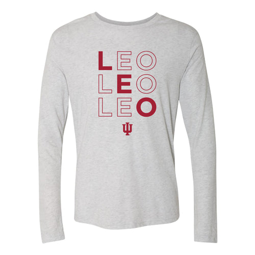Indiana University Hoosiers LEO Outline Long Sleeve Triblend T-Shirt - Heather White