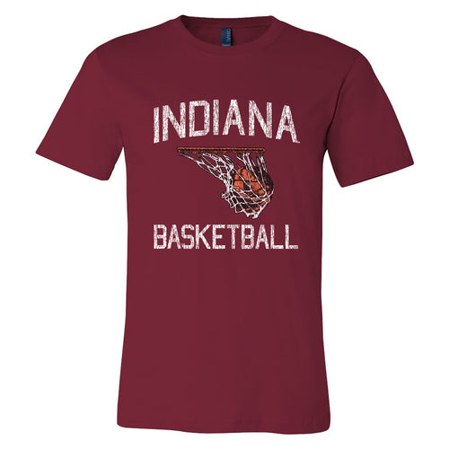 Indiana University Hoosiers Retro Faded Basketball Short Sleeve T-Shirt - Cardinal