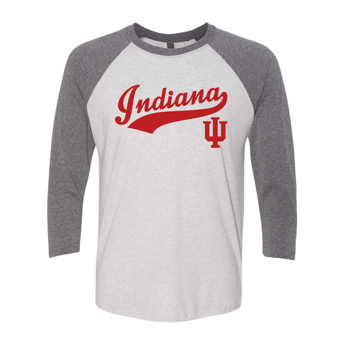 Indiana Baseball Jersey Script Raglan - Heather White/Premium Heather