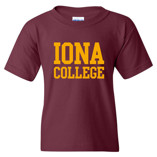 Iona College Gaels Basic Block Cotton Youth Short Sleeve T Shirt - Maroon