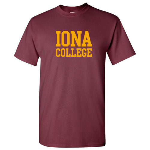 Iona College Gaels Basic Block Cotton Short Sleeve T Shirt - Maroon