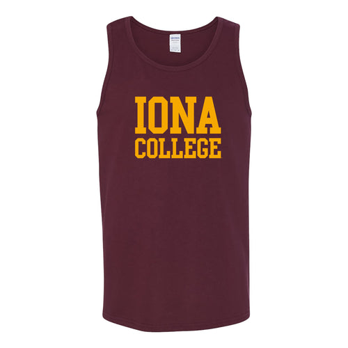 Iona College Gaels Basic Block Heavy Cotton Tank Top - Maroon