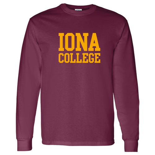Iona College Gaels Basic Block Cotton Long Sleeve T Shirt - Maroon