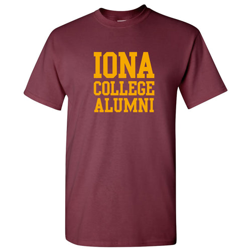 Iona College Gaels Alumni Basic Block Cotton Short Sleeve T Shirt - Maroon