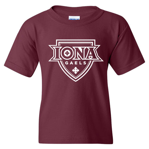 Iona College Gaels Primary Logo Basic Cotton Youth Short Sleeve T Shirt - Maroon