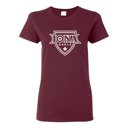 Iona College Gaels Primary Logo Basic Cotton Womens Short Sleeve T Shirt - Maroon