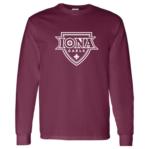 Iona College Gaels Primary Logo Basic Cotton Long Sleeve T Shirt - Maroon