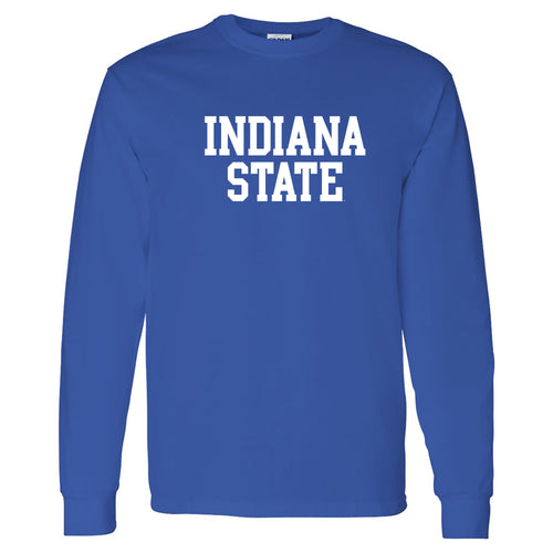 Indiana State University Sycamores Basic Block Long Sleeve T Shirt - Royal