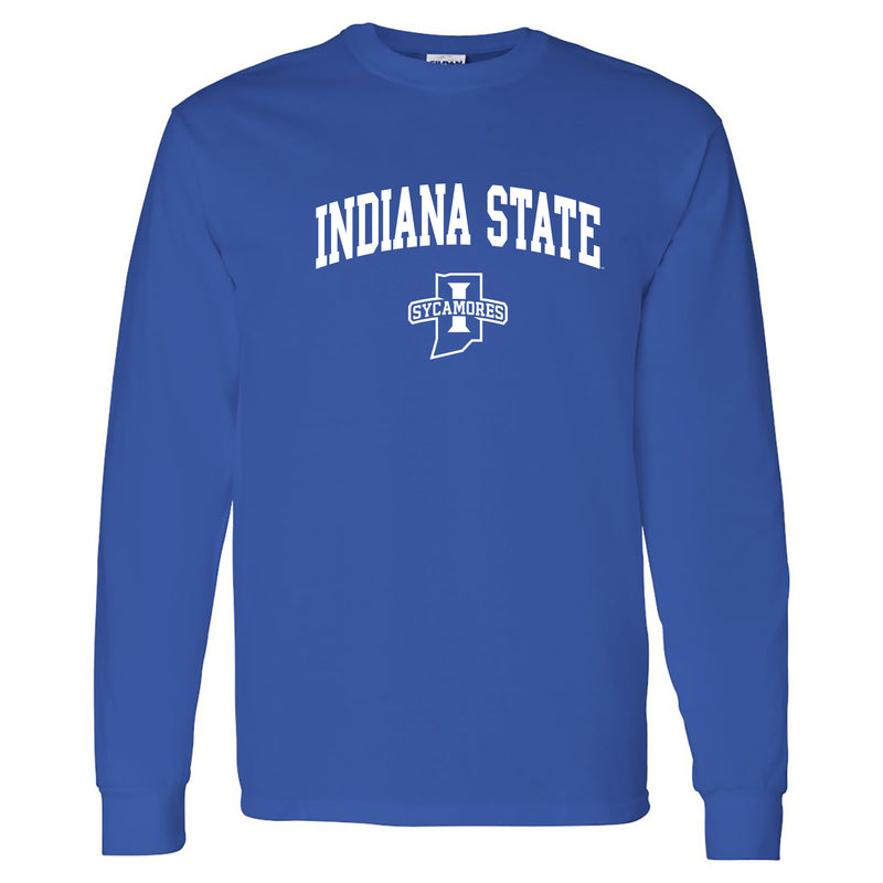 Indiana State University Sycamores Arch Logo Long Sleeve T Shirt - Royal
