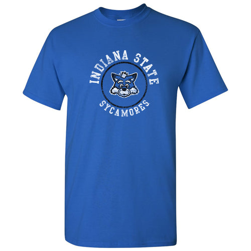 Indiana State University Sycamores Distressed Circle Logo Short Sleeve T Shirt - Royal