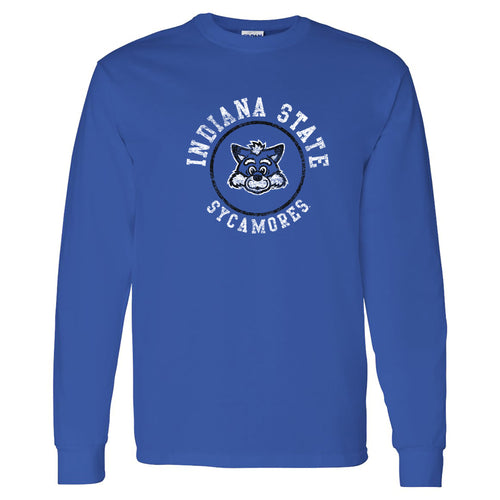 Indiana State University Sycamores Distressed Circle Logo Long Sleeve T Shirt - Royal