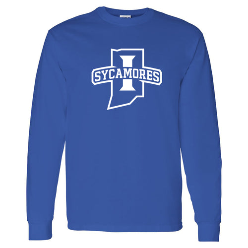 Indiana State University Sycamores Primary Logo Long Sleeve T Shirt - Royal