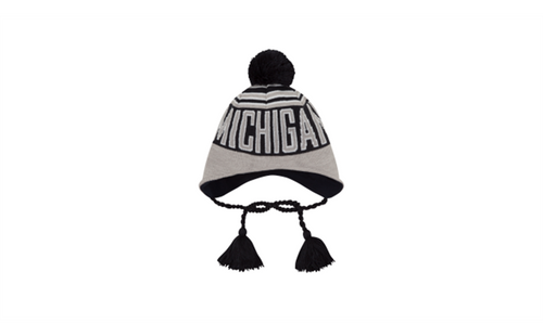 Michigan Wintry Worded Knit Hat - Grey/Navy