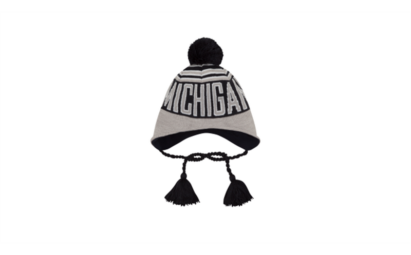 Wintry Worded Michigan Knit Hat - Grey/Navy