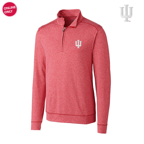 Indiana University Hoosiers Cutter & Buck Big & Tall Shoreline Half Zip - Cardinal Red Heather