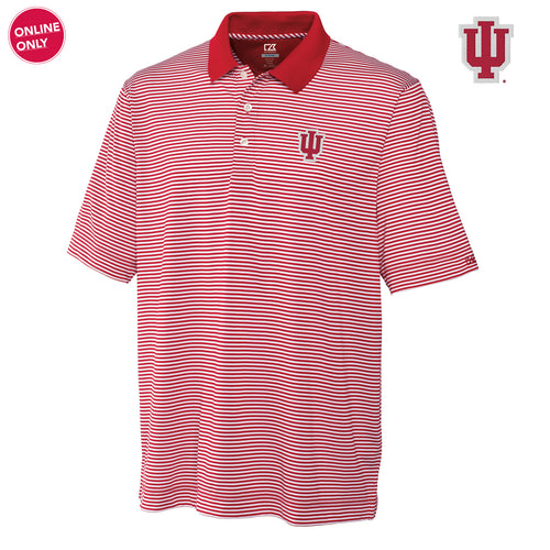 IU Cutter & Buck Trevor Stripe Polo - Cardinal Red/White