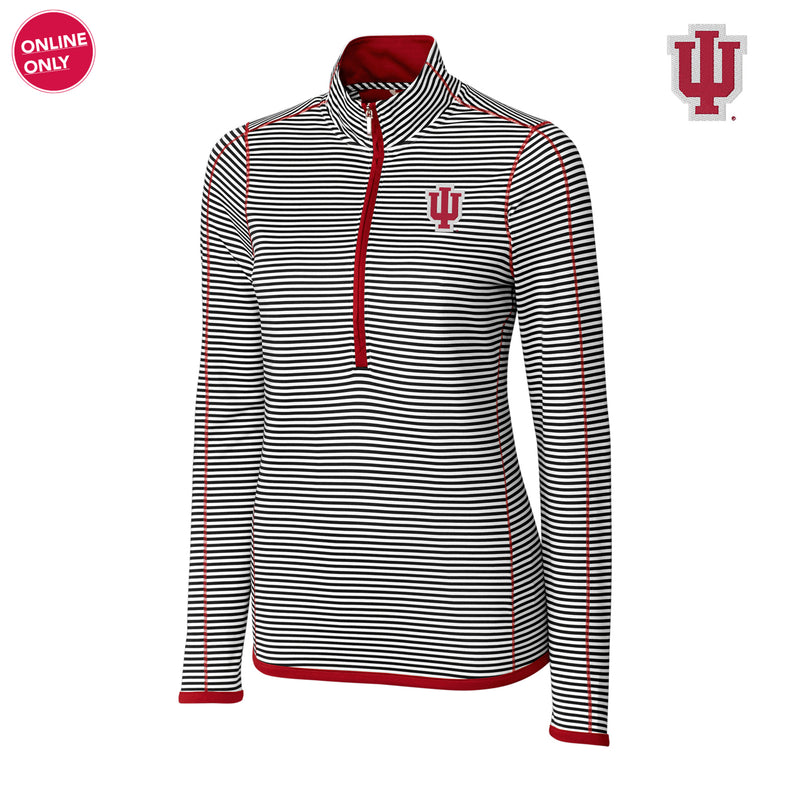 Indiana University Hoosiers CB DryTec Women's Long Sleeve 3/4 Zip Trevor Stripe - Cardinal Red