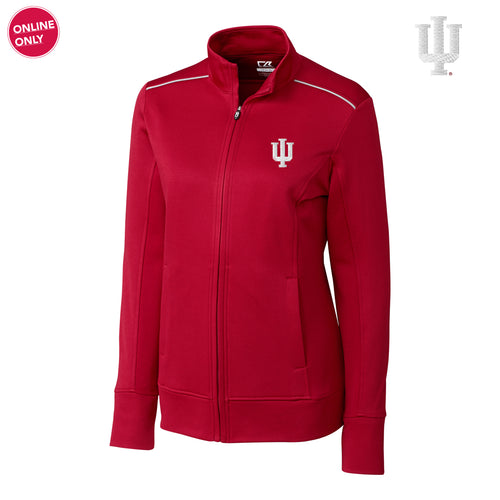 IU Cutter & Buck Ladies Ridge Full Zip - Cardinal