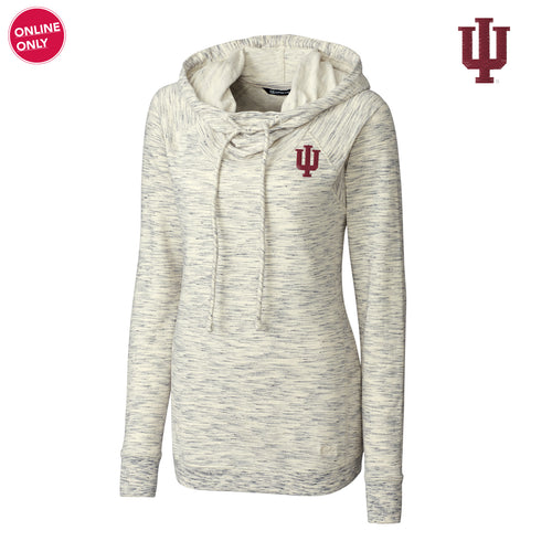 IU Cutter & Buck Women's Long Sleeve Tie Breaker Hoodie - Snow White