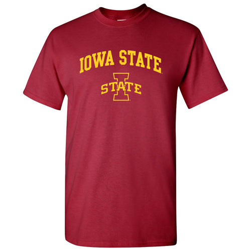 Iowa State University Cyclones Arch Logo Short Sleeve T Shirt - Cardinal