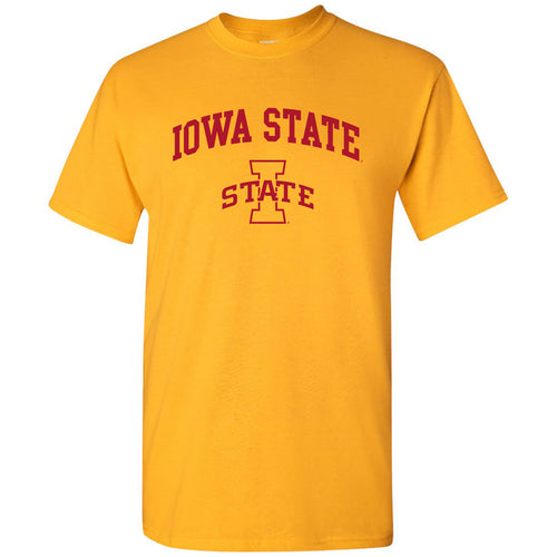 Iowa State University Cyclones Arch Logo Short Sleeve T Shirt - Gold