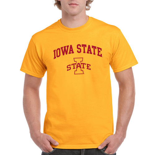 Arch Logo Iowa State Cyclones Basic Cotton Short Sleeve T Shirt - Gold