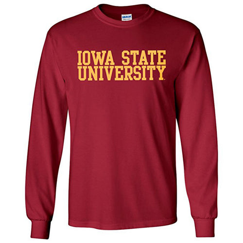 Iowa State University Cyclones Basic Block Long Sleeve T Shirt - Cardinal
