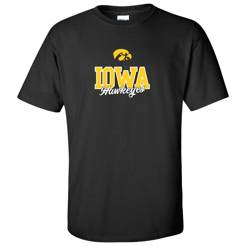 University of Iowa Hawkeyes Fresh Script Short Sleeve T Shirt - Black