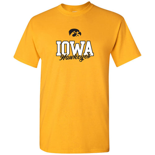 University of Iowa Hawkeyes Fresh Script Short Sleeve T Shirt - Gold