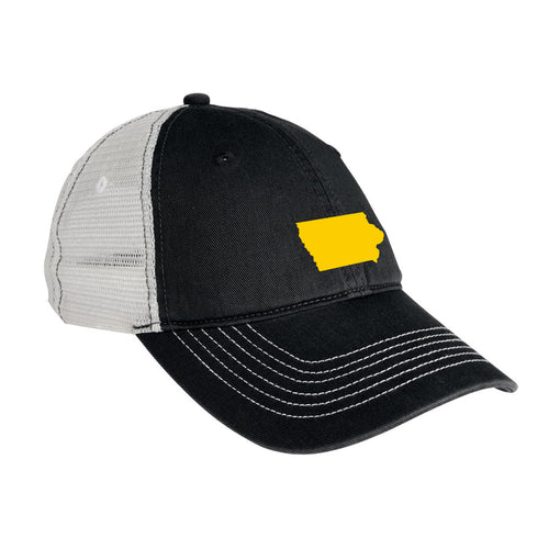 Iowa Outline District Threads Mesh Back Baseball Cap - Black