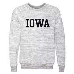 Iowa Sponge Fleece Crew - Light Grey Marble