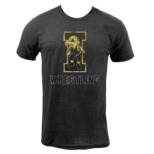 University of Iowa Hawkeyes Wrestling Herky Next Level Short Sleeve T Shirt - Vintage Black