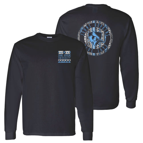Johns Hopkins University Blue Jays Aztec Pattern Emblem Long Sleeve T Shirt - Black