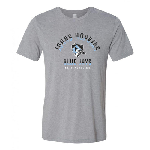 Johns Hopkins University Blue Jays Division Arch Canvas Triblend Short Sleeve T Shirt - Athletic Grey Triblend