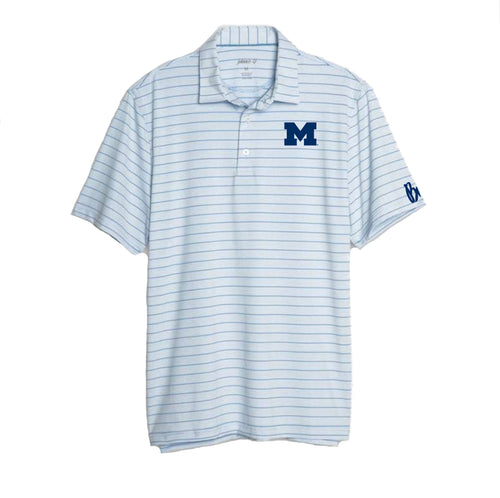 Bo Schembechler Signature University of Michigan Block M Johnnie O Kiawah Polo - Gulf Blue