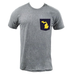 MI State Outline Pocket Tee - Athletic Grey