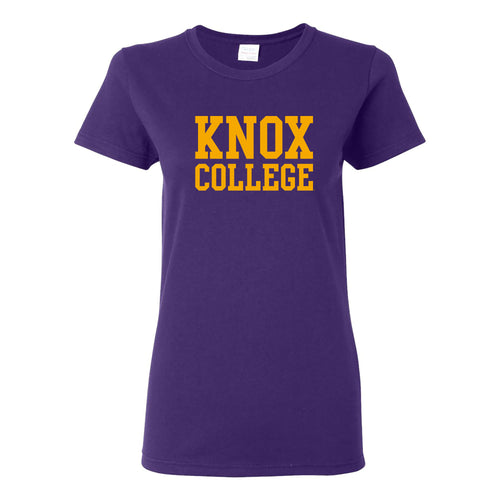 Knox College Prairie Fire Basic Block Womens Short Sleeve T Shirt - Purple