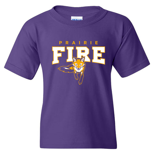 Knox College Prairie Fire Arch Logo Youth Short Sleeve T Shirt - Purple