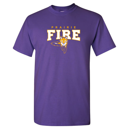 Knox College Prairie Fire Arch Logo Short Sleeve T Shirt - Purple