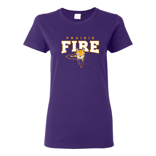 Knox College Prairie Fire Arch Logo Womens Short Sleeve T Shirt - Purple