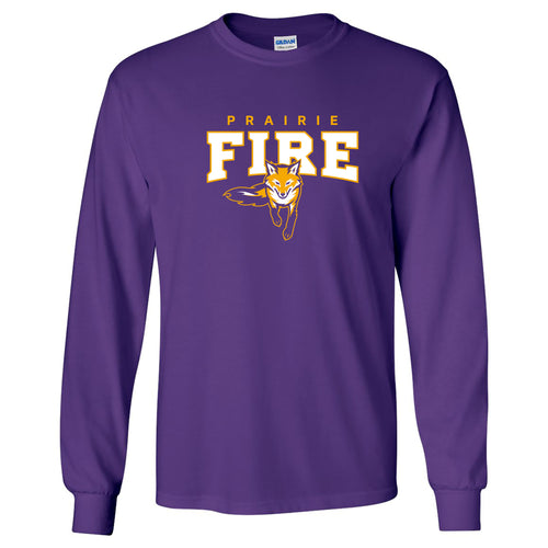 Knox College Prairie Fire Arch Logo Long Sleeve T Shirt - Purple