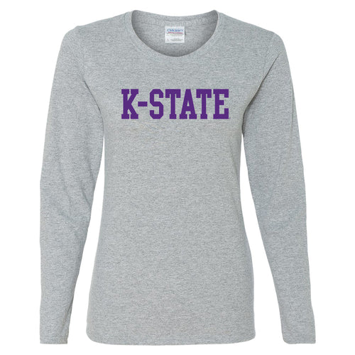Kansas State University Wildcats Basic Block Cotton Womens Long Sleeve T-Shirt - Sport Grey