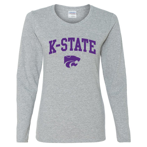 Kansas State University Wildcats Arch Logo Cotton Womens Long Sleeve T-Shirt - Sport Grey