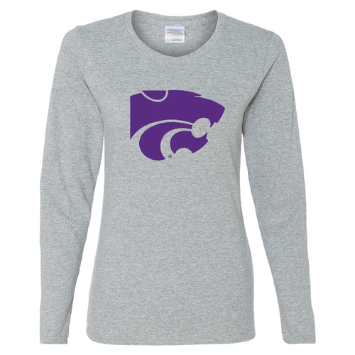 Kansas State University Wildcats Primary Logo Cotton Womens Long Sleeve T-Shirt - Sport Grey