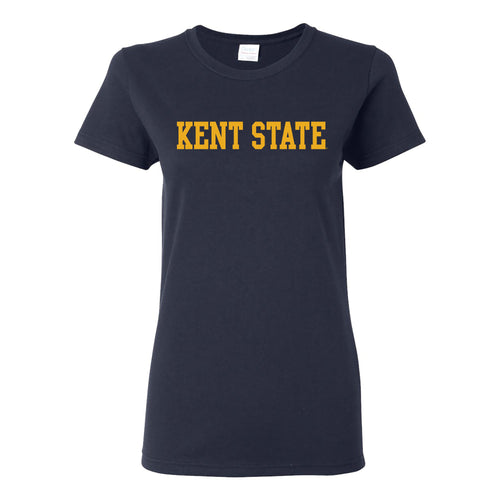Kent State University Golden Flashes Basic Block Womens Short Sleeve T Shirt - Navy