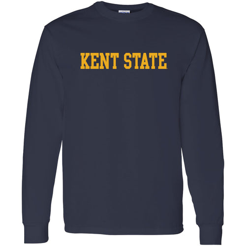 Kent State University Golden Flashes Basic Block Long Sleeve T-Shirt - Navy