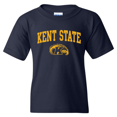 Kent State University Golden Flashes Arch Logo Youth Short Sleeve T Shirt - Navy