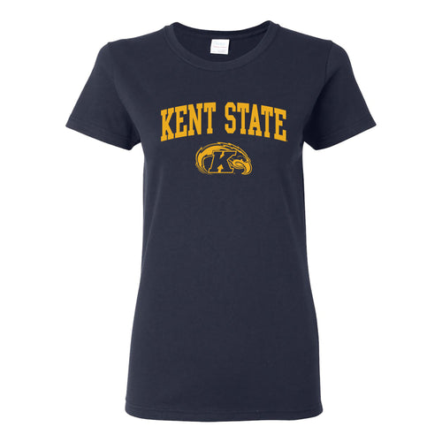 Kent State University Golden Flashes Arch Logo Womens Short Sleeve T Shirt - Navy