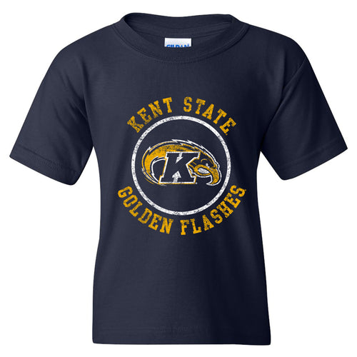 Kent State University Golden Flashes Distressed Circle Logo Youth Short Sleeve T Shirt - Navy